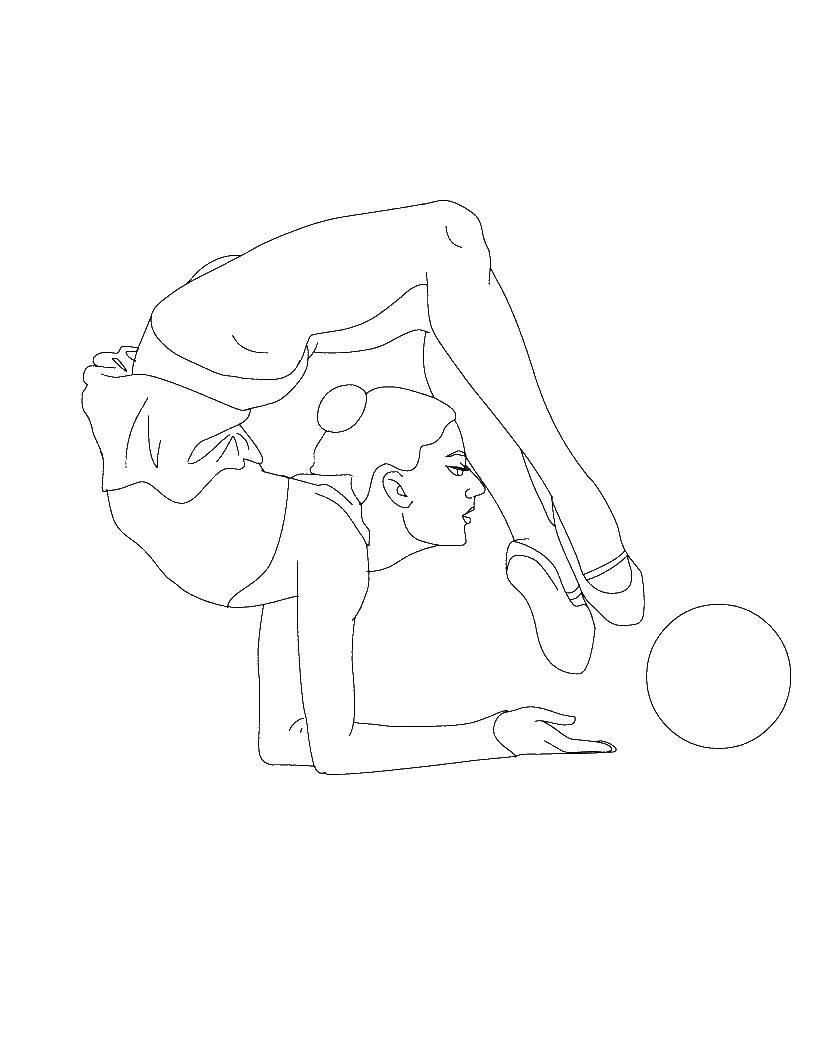 Раскраска Гимнастка Скачать Спорт, гимнастика.  Распечатать ,гимнастика,