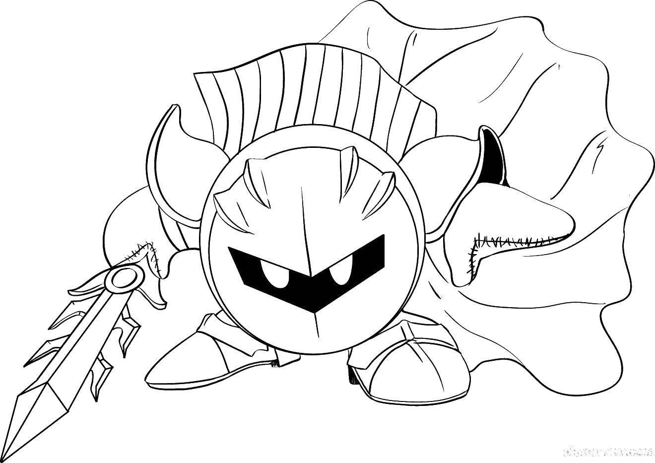 Раскраска Кирби герой Скачать кирби игрушка.  Распечатать ,игрушки,