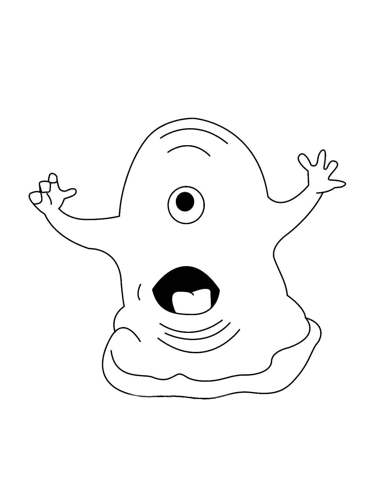 Раскраска Боб бесформенный и студенистый Скачать Монстры, против пришельцев, боб.  Распечатать ,Монстры против пришельцев мультик,