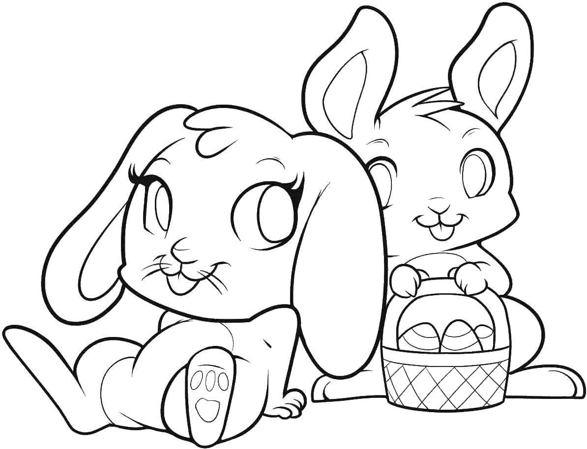 Раскраска Пасхальные кролики с корзимнкой Скачать пасха, яйца, кролик.  Распечатать ,раскраски пасха,
