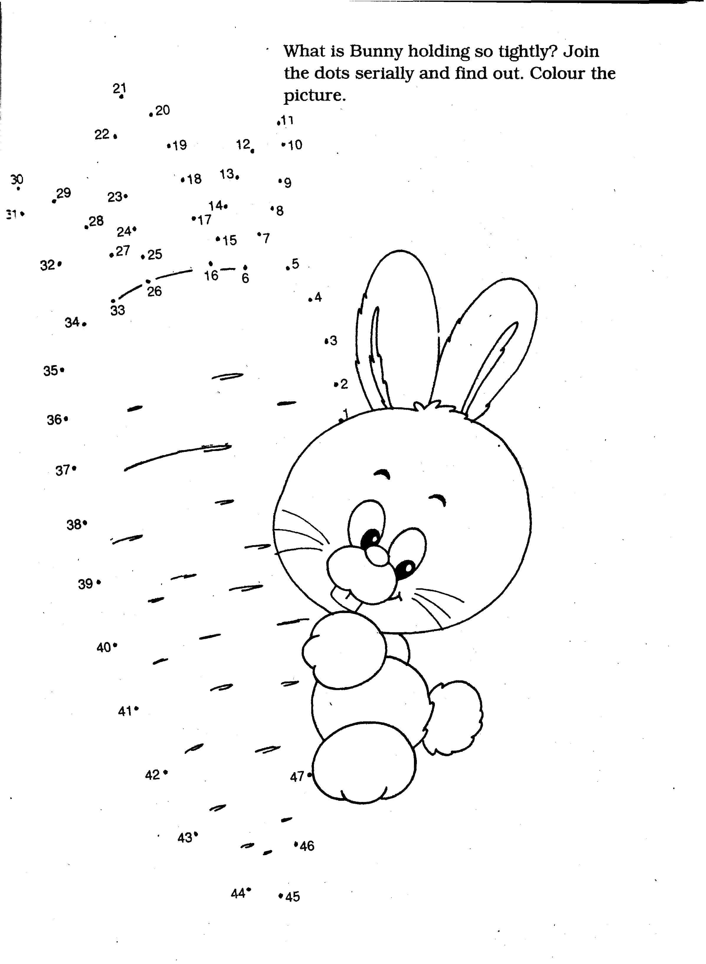 Раскраска Кролик с морковкой Скачать ,дорисуй, точки, кролик,.  Распечатать