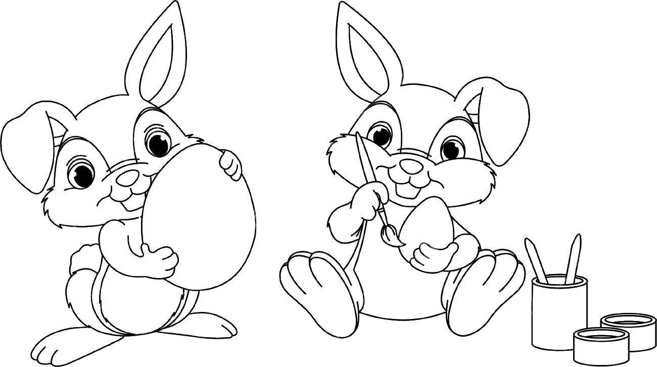 Раскраска Кролики раскрашивают пасхальные яйца Скачать пасха, яйца, кролик.  Распечатать ,пасхальные яйца,