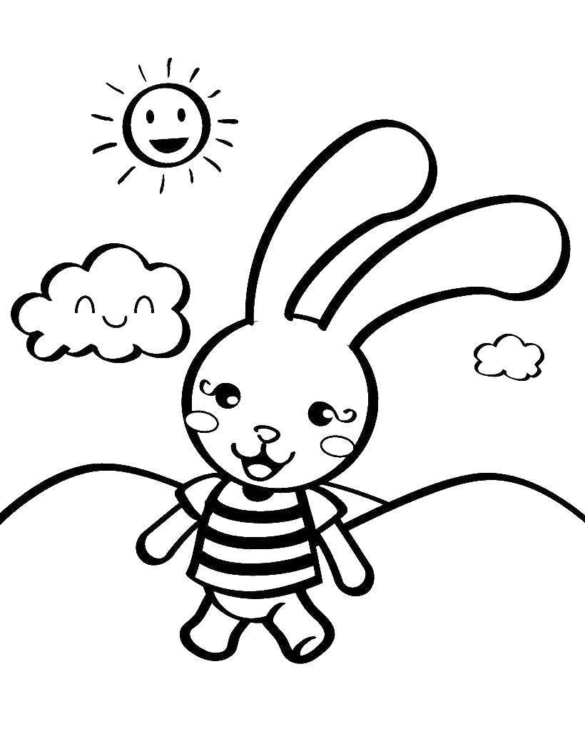 Раскраска Веселый зайчишка Скачать Животные, зайчик.  Распечатать ,Животные,
