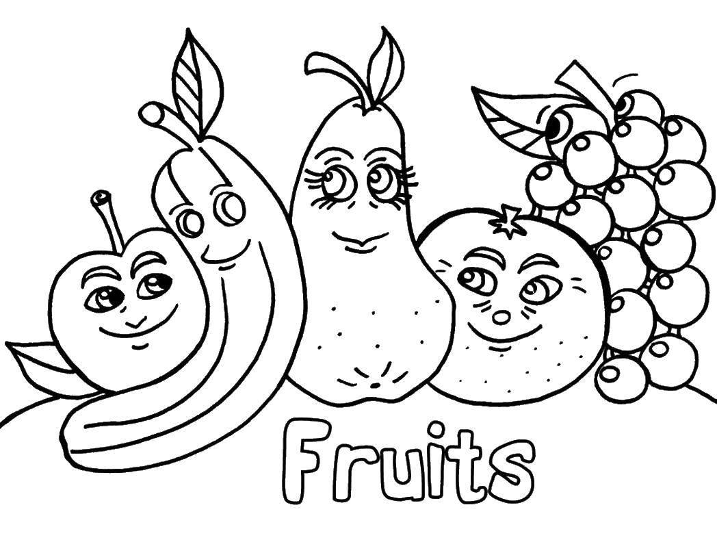 Раскраска Фрукты с глазами Скачать банан, груша, яблоко, апельсин, виноград.  Распечатать ,фрукты,