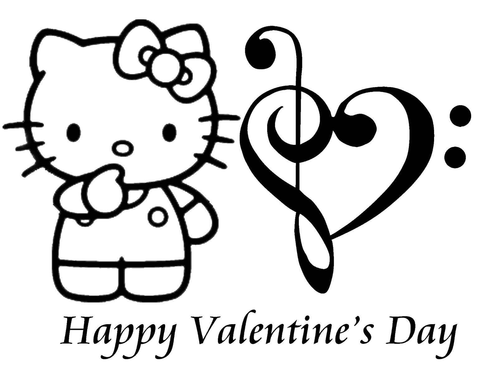 раскраски Hello раскраска Hello Kitty с сердцем день