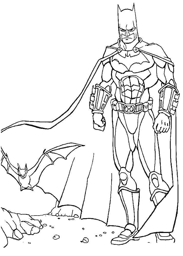 Раскраска Бэтмен Скачать Бэтмен, супергерои.  Распечатать ,супергерои,