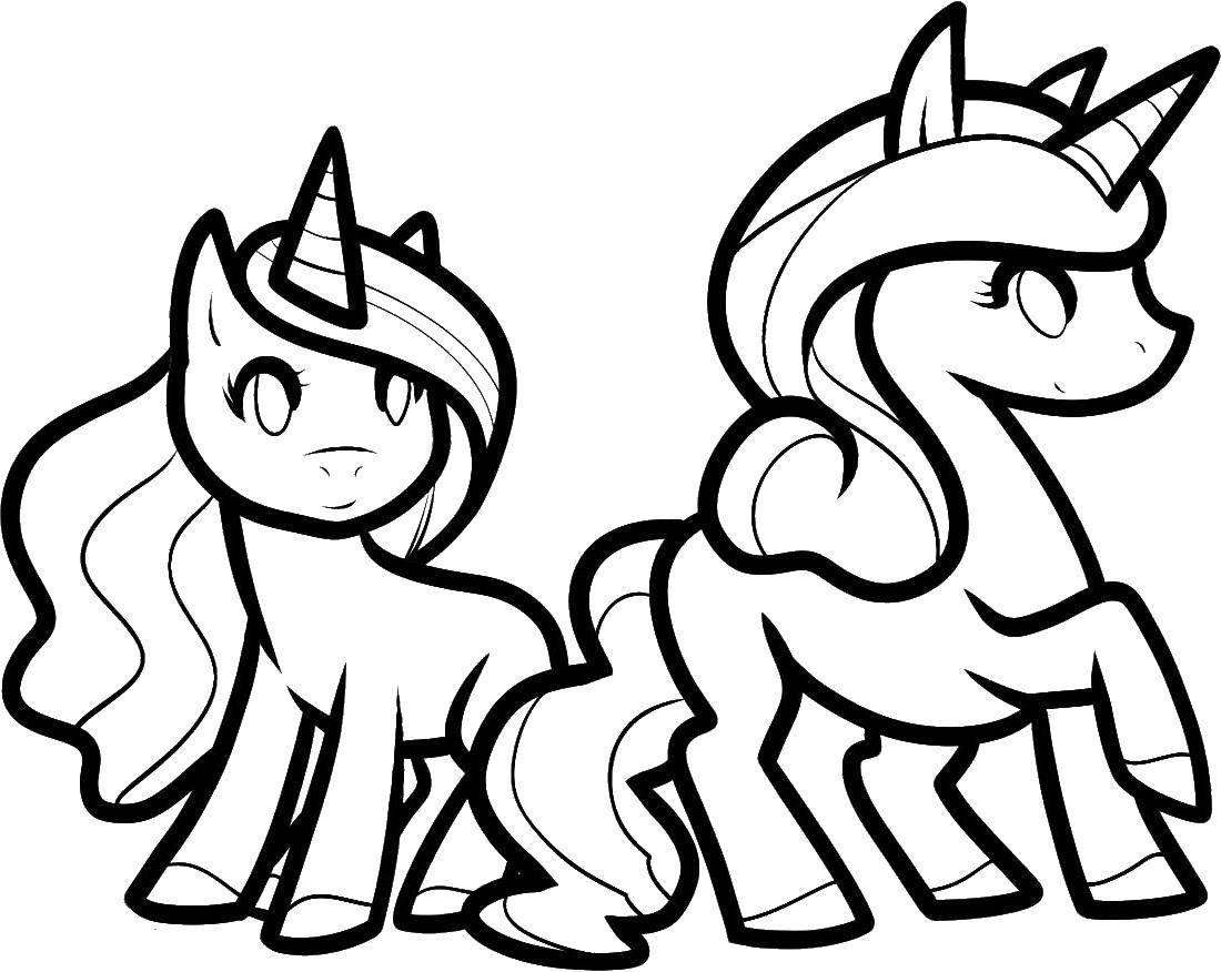 Раскраска Единороги Скачать единороги, пони.  Распечатать ,Волшебные создания,