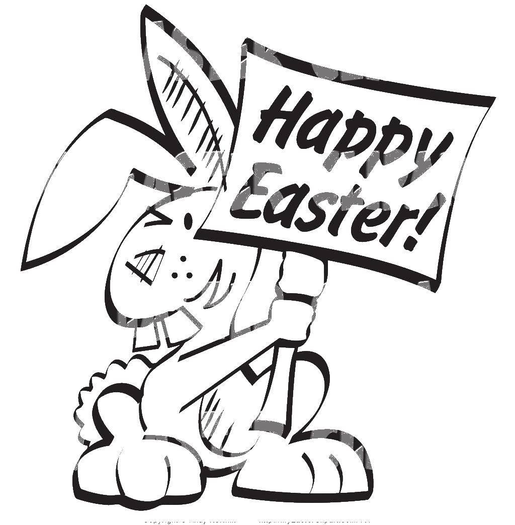 Раскраска Кролик с табличкой. Скачать кролик, табличка, надпись.  Распечатать ,кролик,
