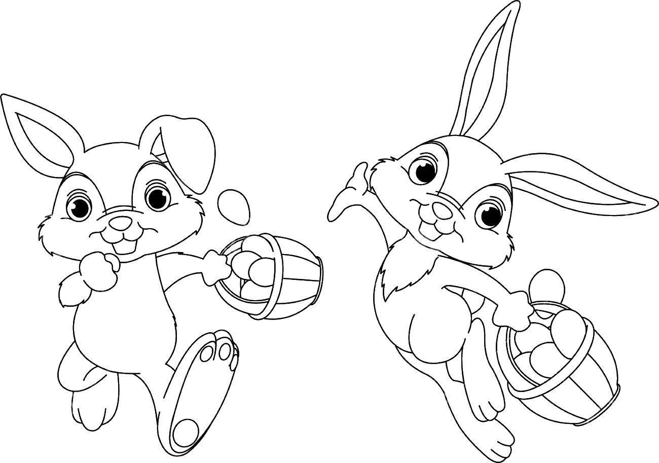 Раскраска Пасхальные кролики с корзинкой с яйцами Скачать пасха, яйца, кролик.  Распечатать ,пасхальный кролик,