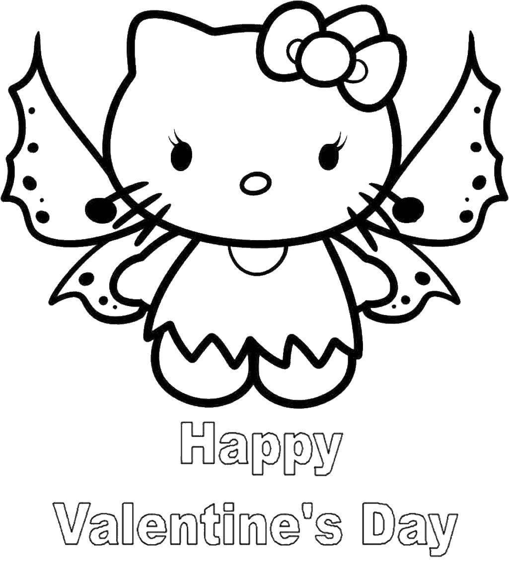Раскраска Hello kitty c крыльями Скачать ,Hello Kitty, открытка, надпись,.  Распечатать