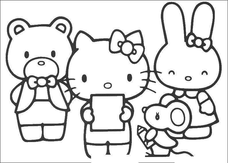 Раскраска Hello kitty и её друзья Скачать Hello Kitty, мышонок, медведь, кролик.  Распечатать ,мультики,