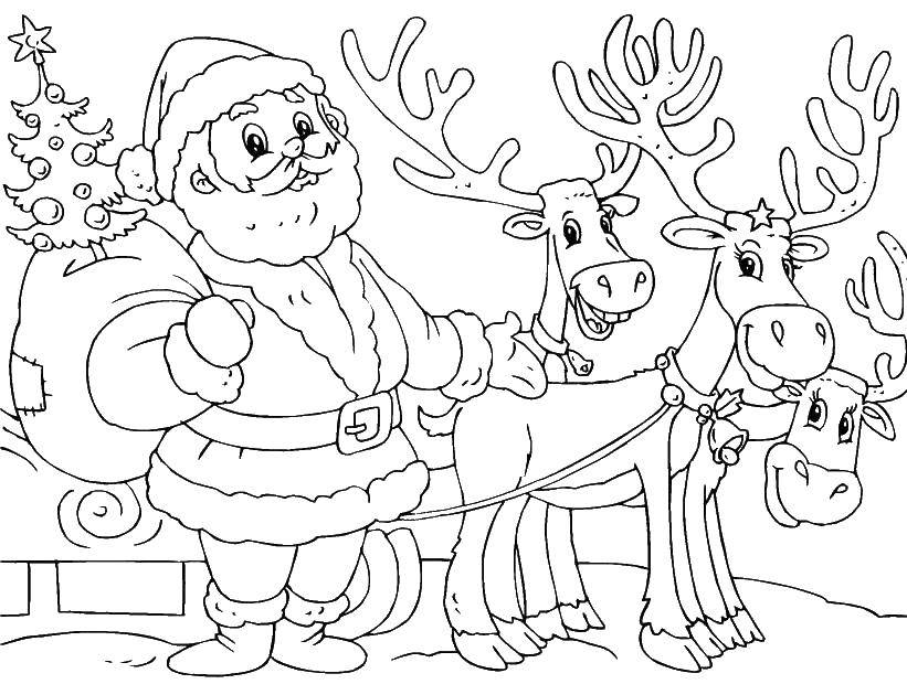 Раскраска Санта клаус на санках с оленями Скачать ,Санта Клаус, рождество,.  Распечатать