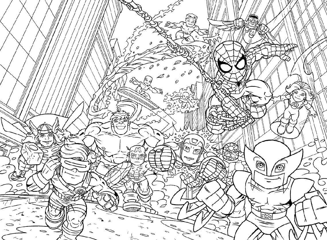 Раскраска Супер герои marvel Скачать человек паук, халк, железный человек, капитан Америка.  Распечатать ,Комиксы,