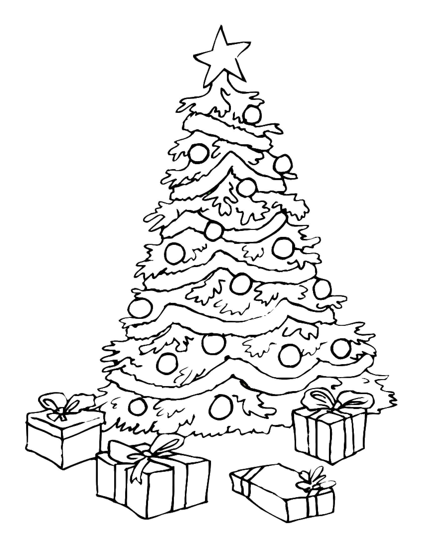 Раскраска Рождественская елка Скачать ,рождество, ребенок, елка,.  Распечатать