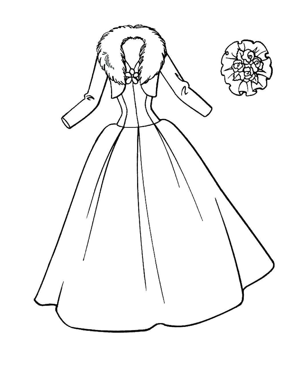 Раскраска свадебные платья Скачать ,Уборка,.  Распечатать