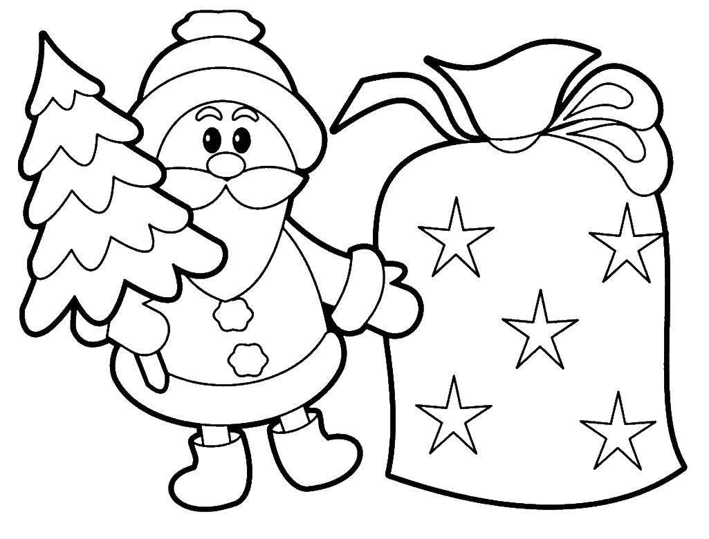 Раскраска Санта клаус с подарками Скачать ,Санта Клаус, рождество,.  Распечатать