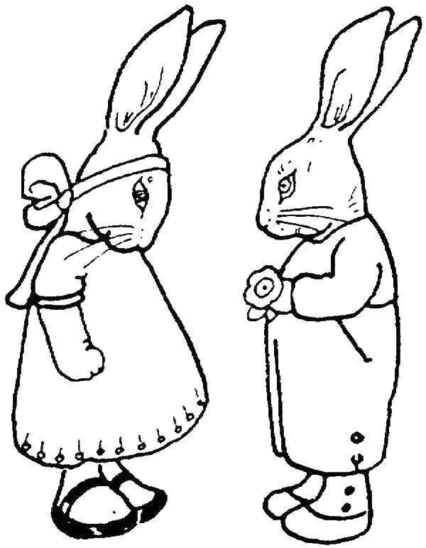 Раскраска Кролики Скачать кролик, заяц.  Распечатать ,кролик,
