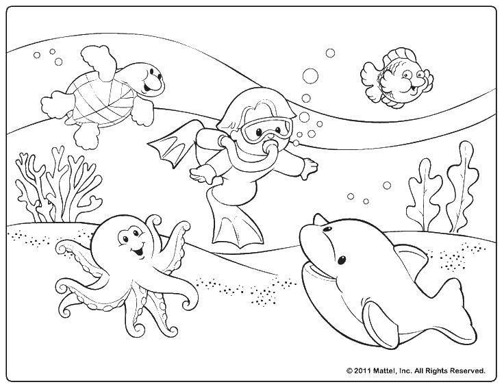 Раскраска Подводный мир Скачать подводный мир, рыбки, акваланг.  Распечатать ,раскраски,