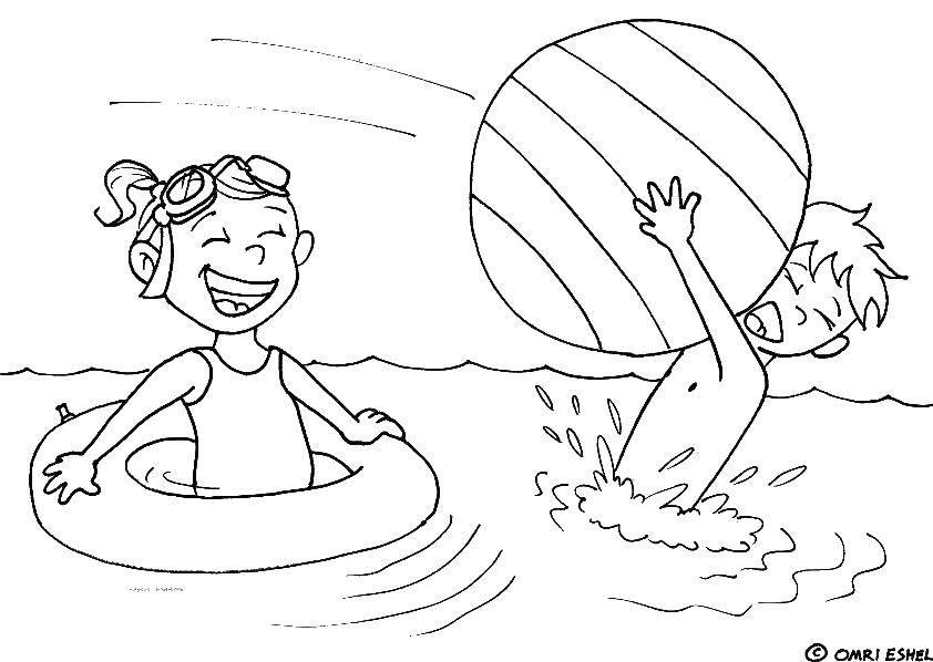 Название: Раскраска Дети играют с мячом в воде. Категория: Летние развлечения. Теги: море, вода, дети, мяч.