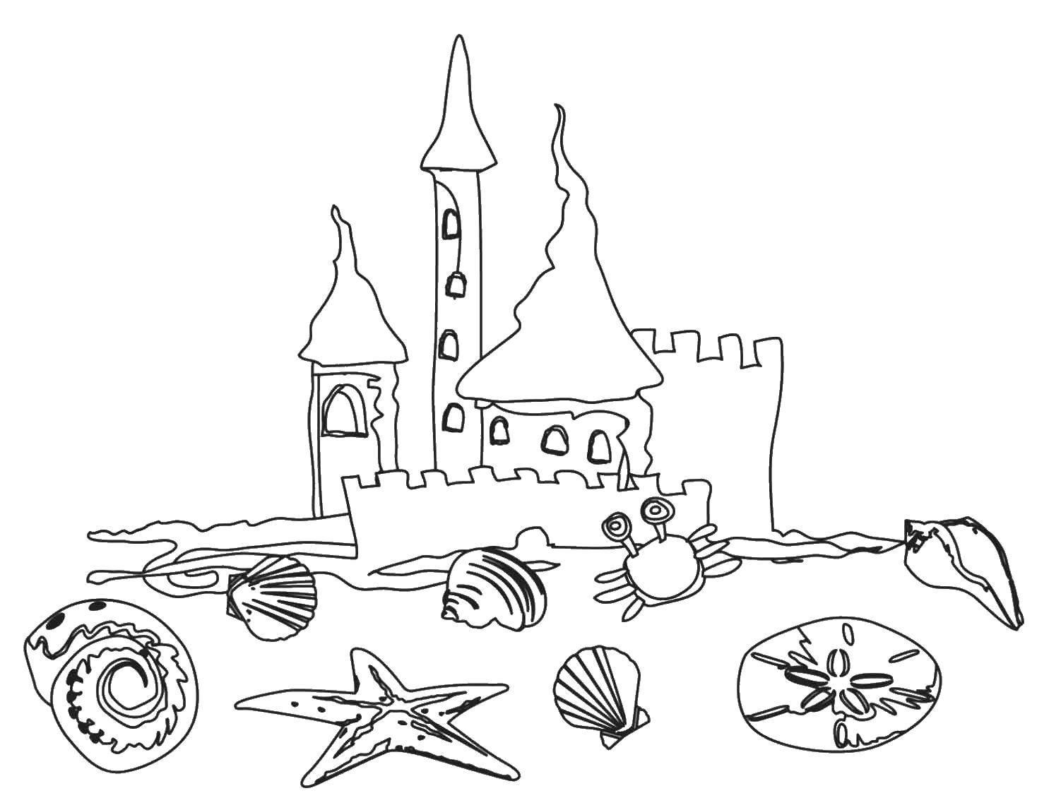 Название: Раскраска Замок на пляже. Категория: Летние развлечения. Теги: пляж, море, песок, краб.