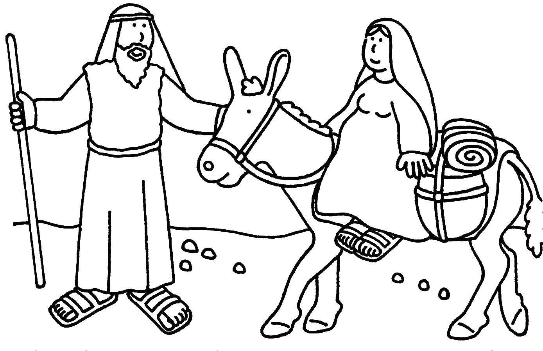 Раскраска Мать иисуса верхом на осле. Скачать библия, иисус.  Распечатать ,библия,