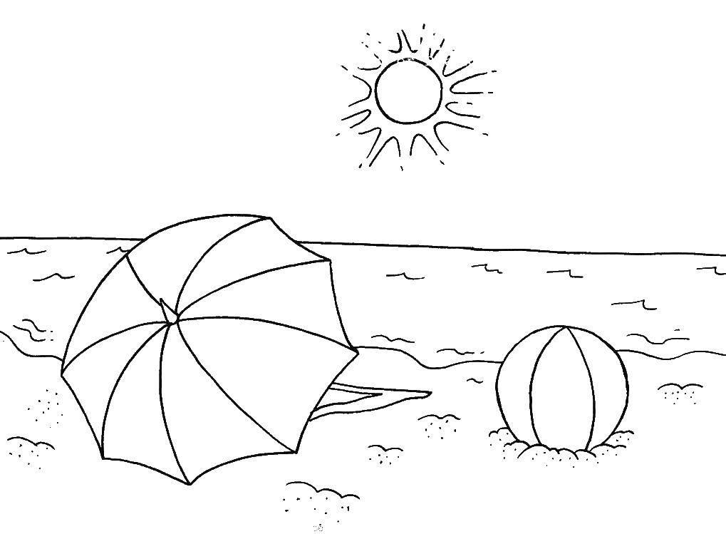 Раскраска Пляж Скачать .  Распечатать