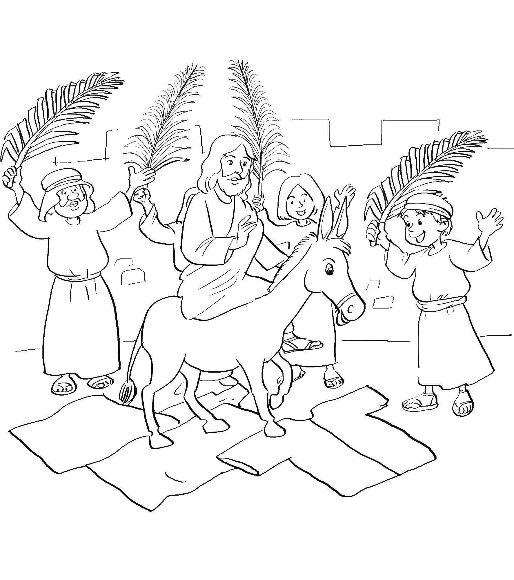 Раскраска Иисус на осле. Скачать иисус, осел.  Распечатать ,библия,