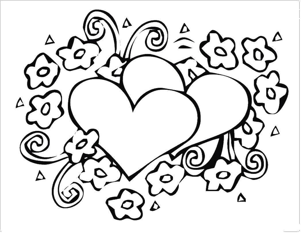 Раскраска Открытка на день святого валентина Скачать День святого валентина, поздравление.  Распечатать ,День святого валентина,