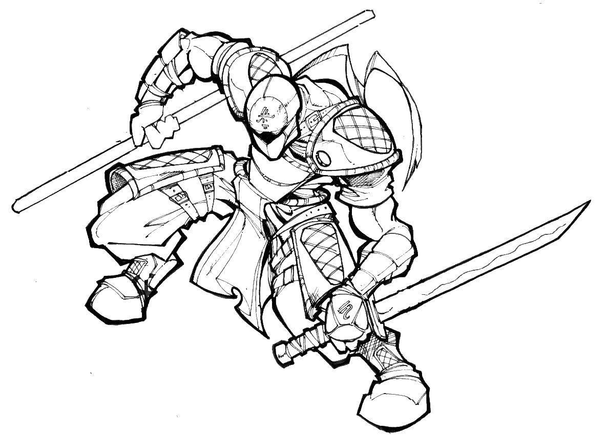Раскраска Самурй. Скачать рыцарь, самурай.  Распечатать ,Рыцари,