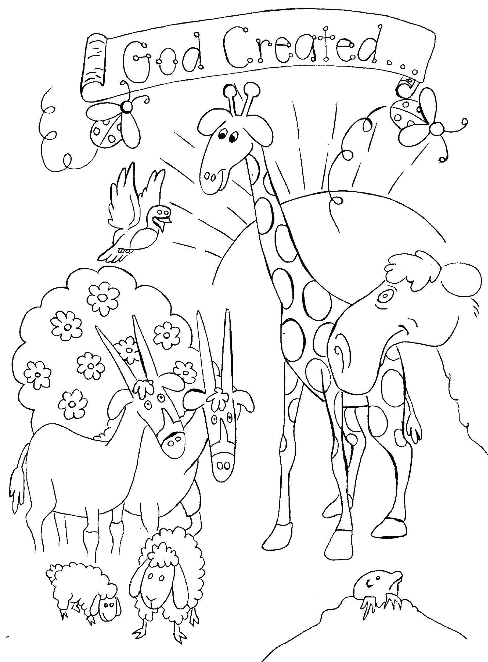 Раскраска Бог создал животных Скачать бог, животные.  Распечатать ,библия,