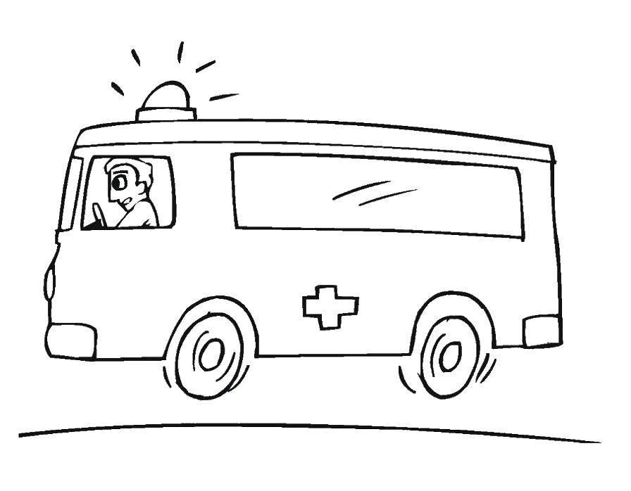 Раскраска Скорая помощь Скачать Скорая, машина.  Распечатать ,машины,