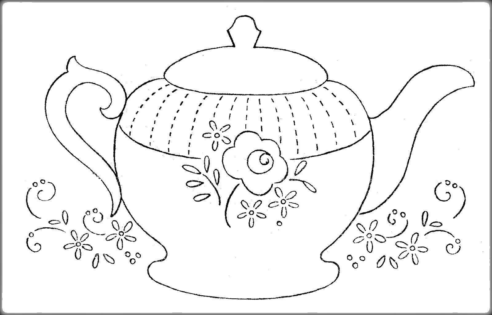Раскраска чайник Скачать ,чайник,.  Распечатать