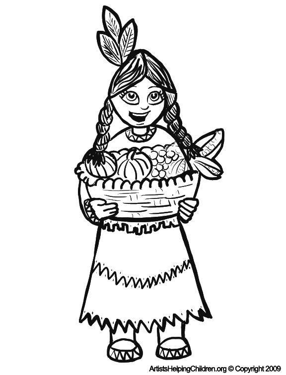Раскраска Индеец с фруктами Скачать девушка, корзина, офощи.  Распечатать ,индейцы,