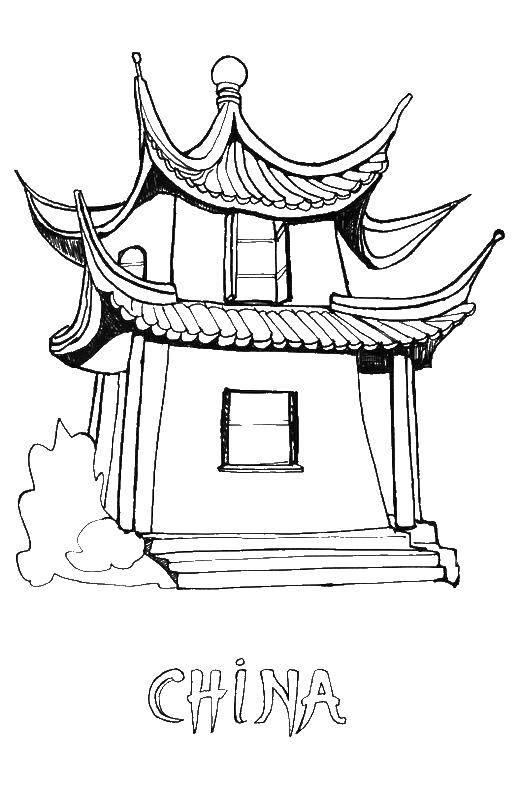 Раскраска Китайский дом Скачать китай, дом.  Распечатать ,китай,
