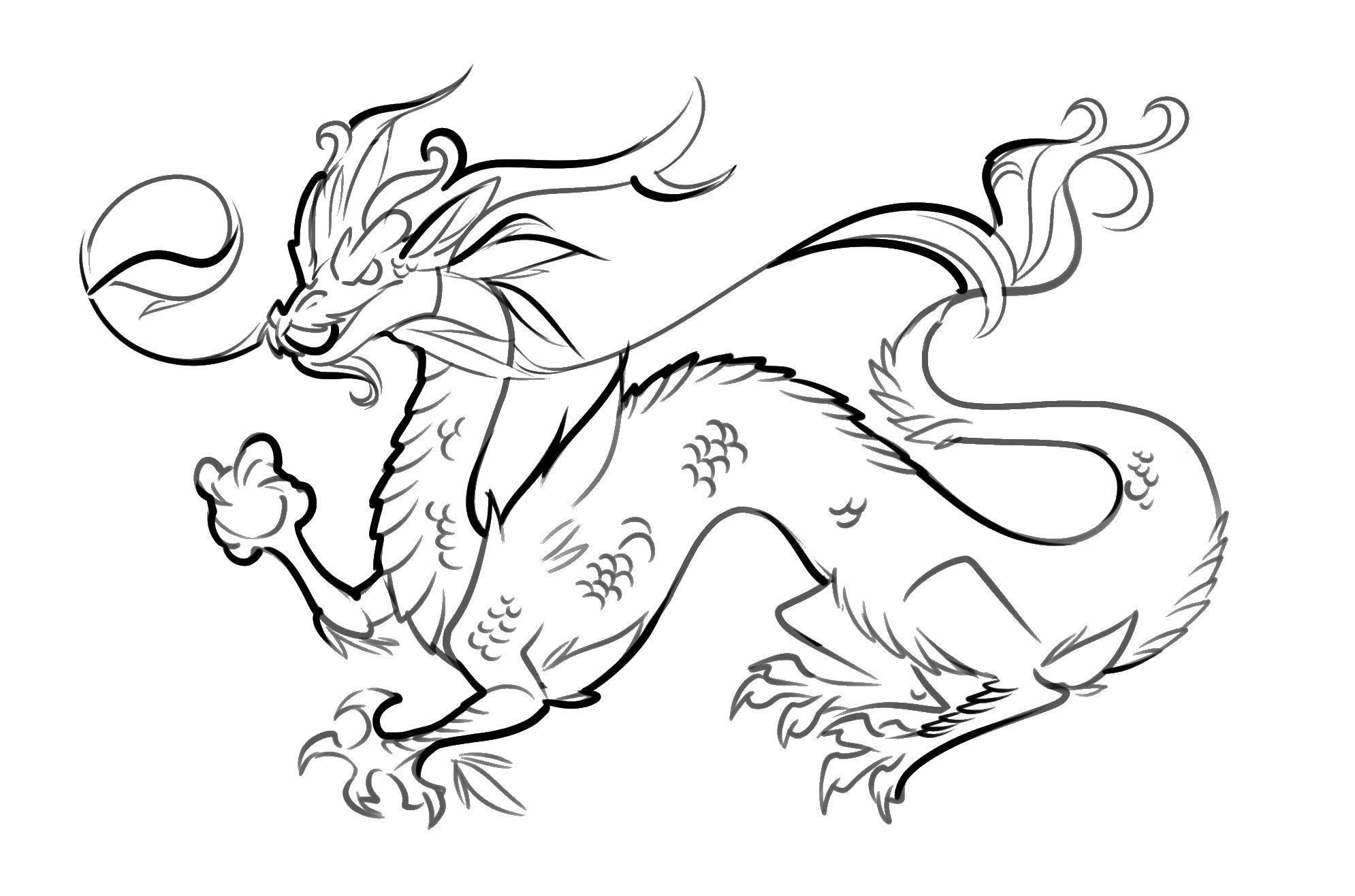 Раскраска Китайский дракон Скачать дракон, хвост.  Распечатать ,Религия,