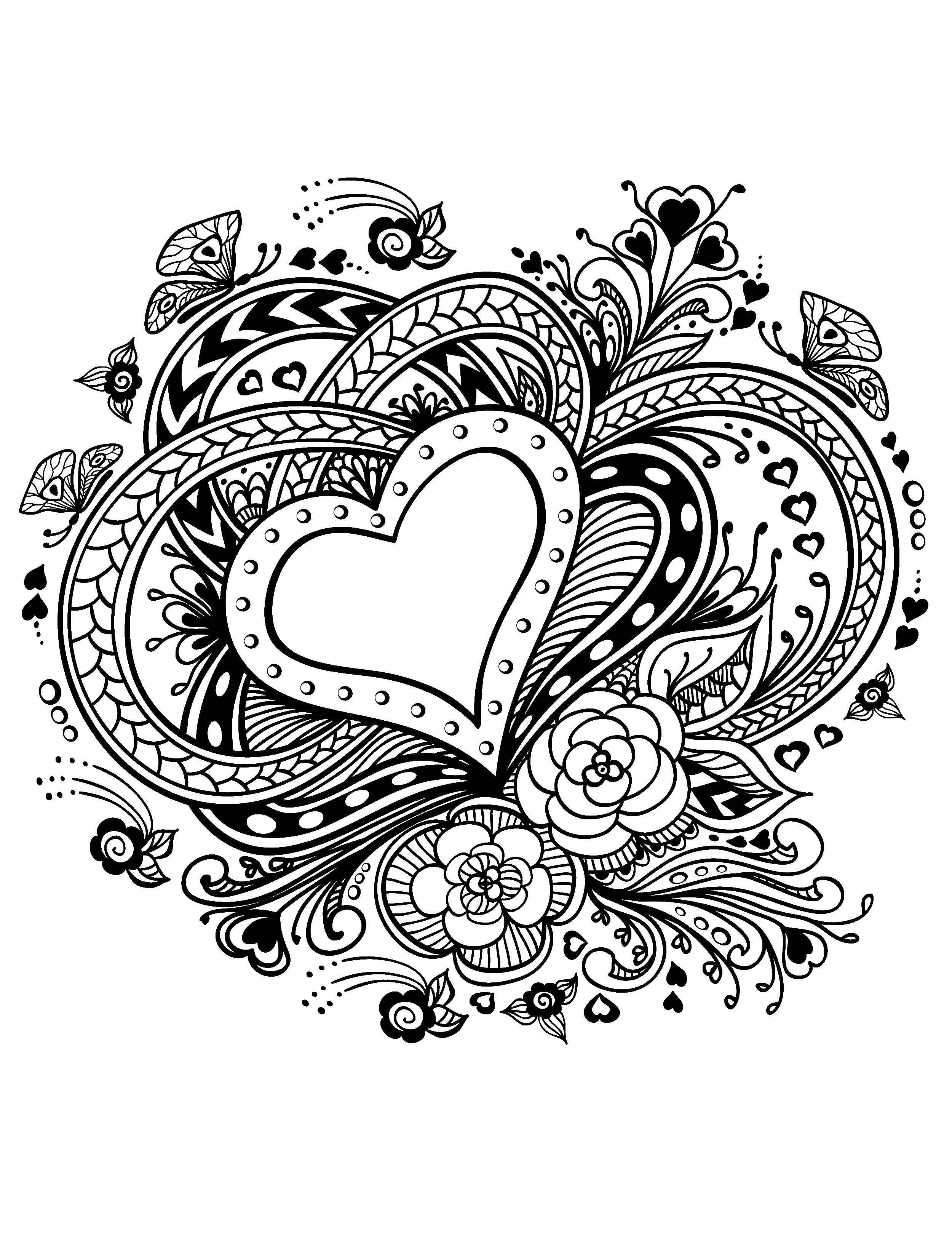 раскраски раскраска сердце и цветы сердечки сайт раскрасок