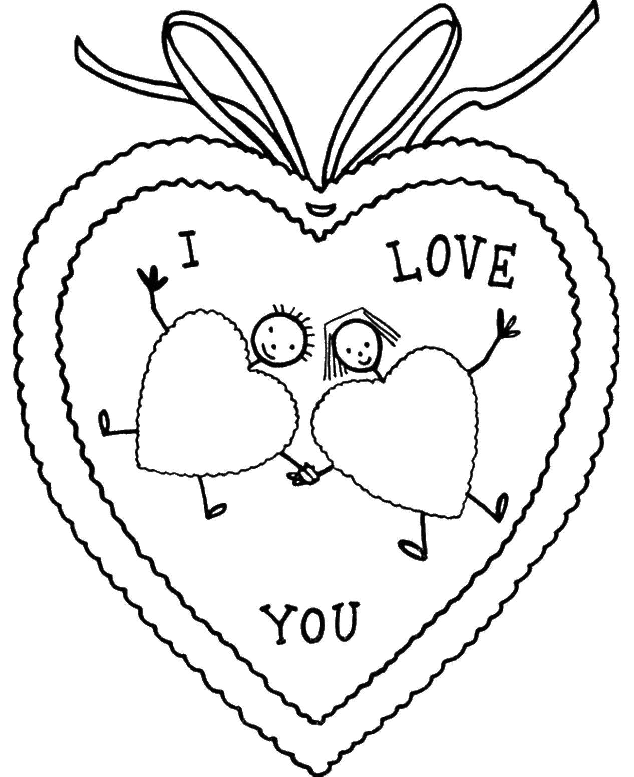 Раскраска Открытка на день святого валентина Скачать открытка, День святого валентина.  Распечатать ,День святого валентина,