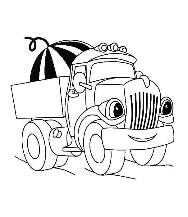 раскраски грузовик раскраска грузовик с арбузом машины