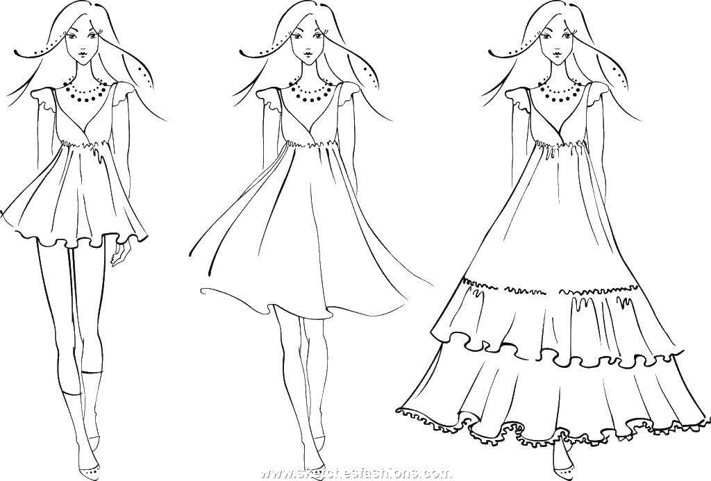 Раскраска Девушки в платьях Скачать платья, бусы, девушка.  Распечатать ,Платья,