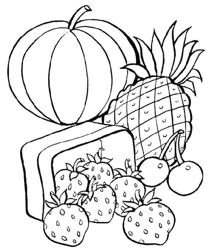 Раскраска Фрукты и ягоды Скачать клубника, ананас, вишня.  Распечатать ,еда,
