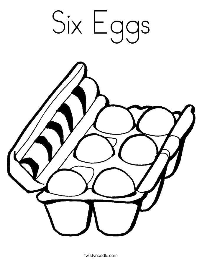 Раскраска Шесть яиц в коробке. Скачать яйца, коробка.  Распечатать ,продукты,