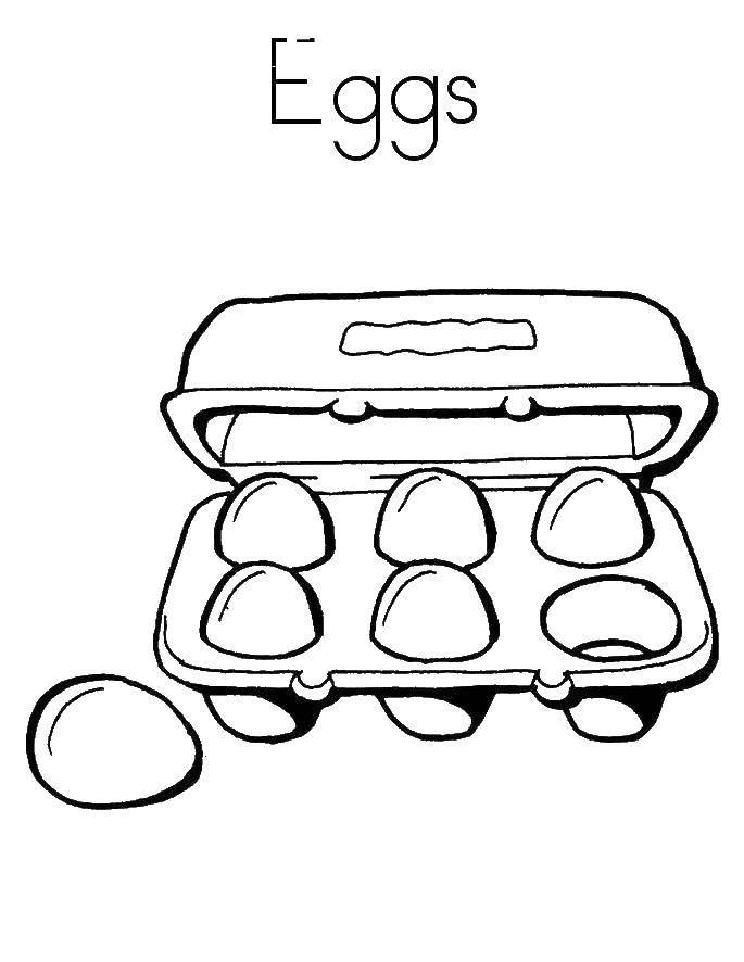 Раскраска Яйца в коробке. Скачать яйца, коробка.  Распечатать ,продукты,