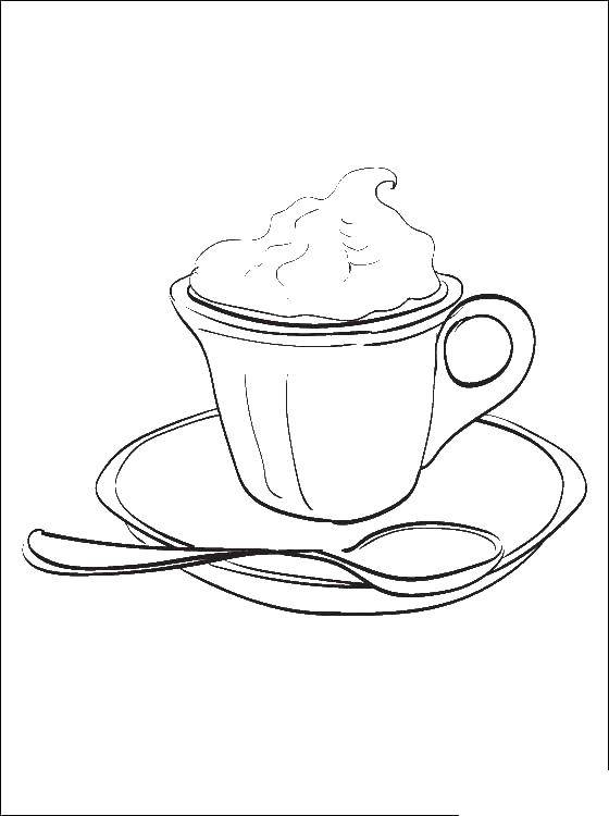 раскраски раскраска чашка кофе еда скачать распечатать