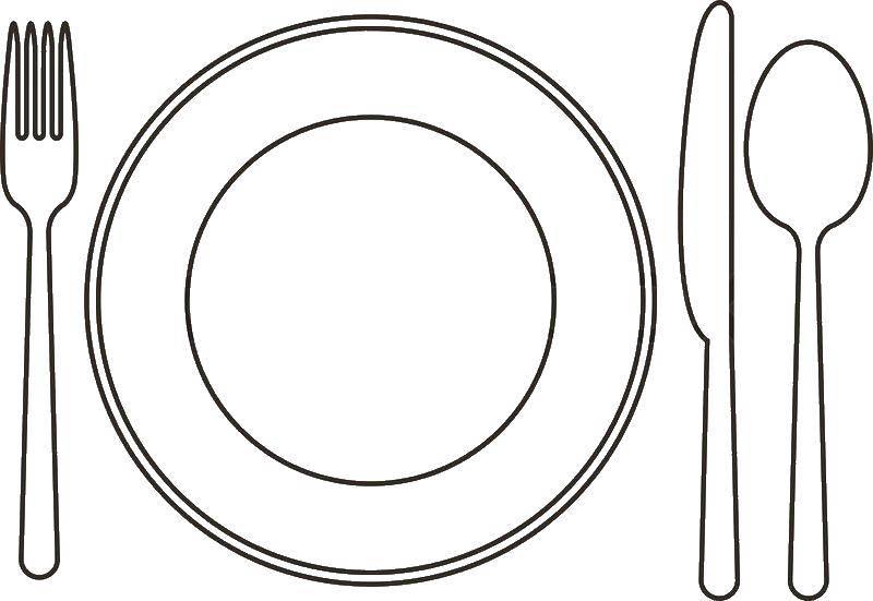 Раскраска посуда Скачать ,тарелка, ложка, нож, вилка,.  Распечатать