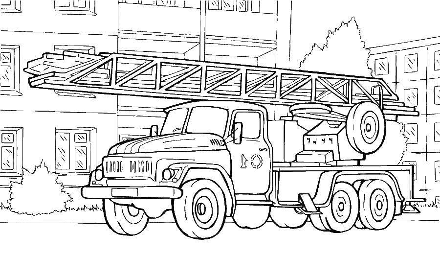 Раскраска Грузовик с лестницей Скачать ,грузовик с лестницей,.  Распечатать