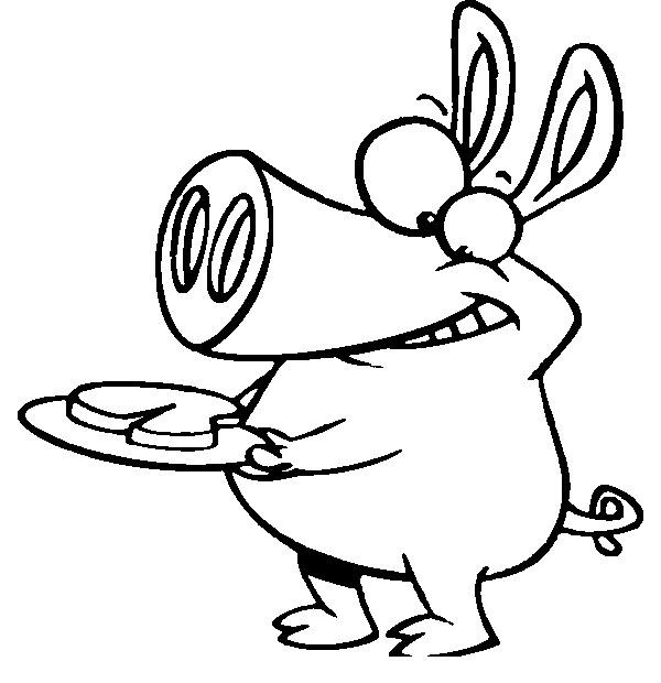 Раскраска Свинка со стейком Скачать свинка, еда, стейк.  Распечатать ,Мясо,