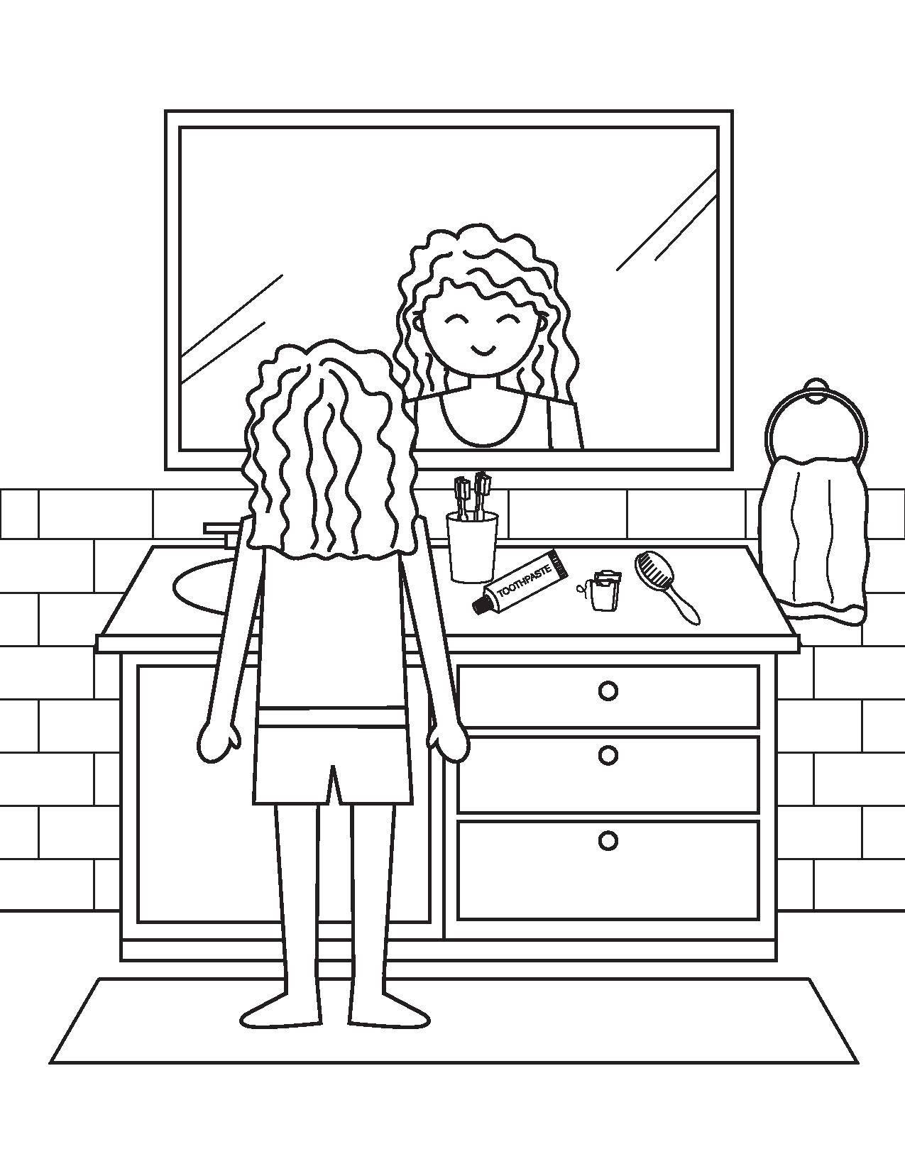 Раскраска Девочка в ванной комнате Скачать ванная комната, ванна, девушка.  Распечатать ,Ванная комната,