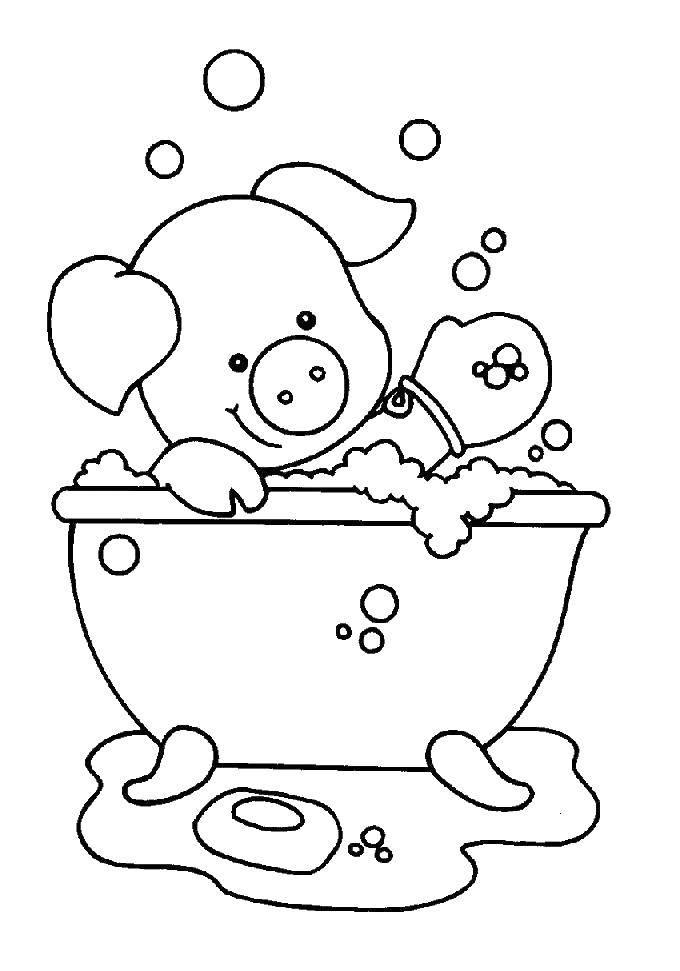 Раскраска Поросенок в ванне Скачать поросенок, ванна, мыло, пена.  Распечатать ,Ванная комната,