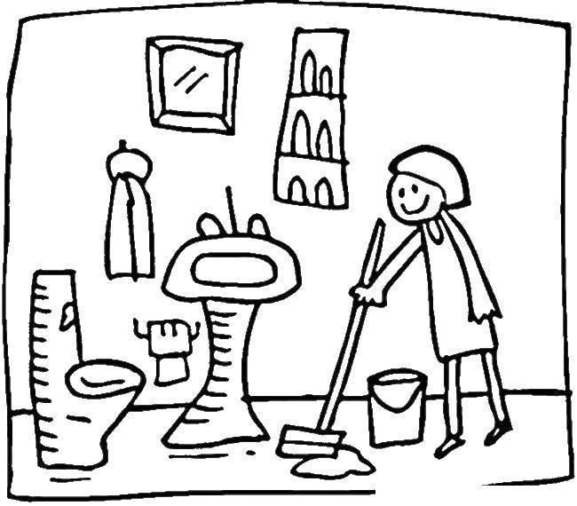 Раскраска Уборка в ванной комнате Скачать швабра, ванна, ведро, девушка.  Распечатать ,Ванная комната,