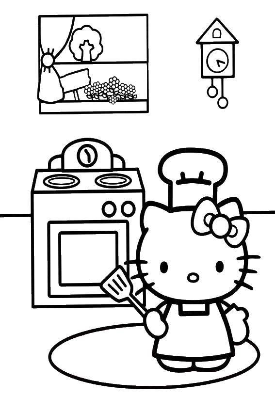 раскраски раскраска Hello Kitty на кухне кухня скачать